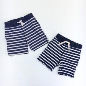 Baby Gap lot 2 pair boy navy blue stripe shorts 2T